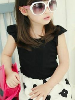 ชุดเดรสสั้นเด็กหญิงเกาหลี แต่งสลับสี กระโปรงพิมพ์ลายดอกไม้ น่ารัก มี3สี