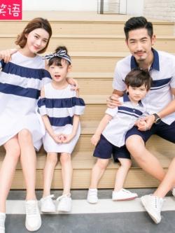 ชุดครอบครัวเซท4ชุด เสื้อโปโล+เดรสทรงหลวม