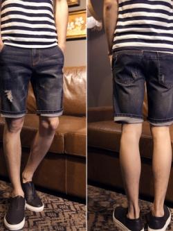 กางเกงยีนส์ขาสั้นเกาหลี สีน้ำเงินเข้ม แต่งรอยปะ ดีไซน์สวย