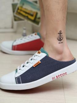 รองเท้าผ้าใบเกาหลี แต่งสลับสี ทรงต่ำ แนวคลาสสิค มี3สี