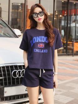 ชุดออกกำลังกายเกาหลี LONDON เสื้อแขนสั้น+กางเกงขาสั้น มี2สี