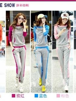 ชุดวอร์มกีฬาเกาหลี เซตเสื้อยืดมีฮู้ดแขนยาวสามส่วนและกางเกงขายาว