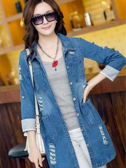 เสื้อยีนส์แจ็คเก็ตตัวยาวเกาหลี สีน้ำเงินเข้ม แต่งกระเป๋าเสื้อ