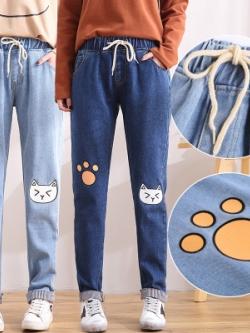 กางเกงยีนส์ขายาวเกาหลี เชือกรูด สกรีนลายน้องแมว มี2สี