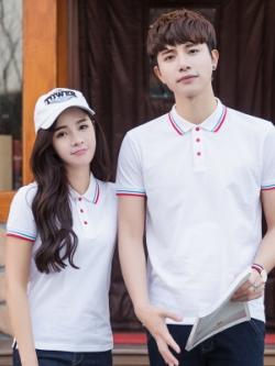Pre Order เสื้อโปโลคู่รักแฟชั่น สไตล์เกาหลี แต่งลายคลาสสิก สีขาว