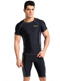 ชุดว่ายน้ำชายเกาหลี แต่งแถบด้านข้าง เสื้อแขนสั้น+กางเกง