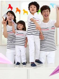 ชุดครอบครัวเซต3ชิ้น สีตามรูป เป็นเสื้อยืดลายขวาง
