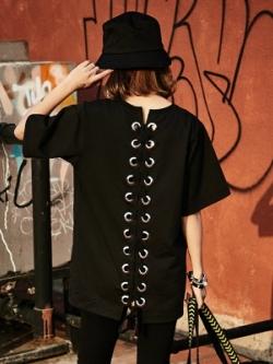 เสื้อยืดแฟชั่นแขน5ส่วน สีดำ แต่งผูกด้านหลัง สไตล์เกาหลี