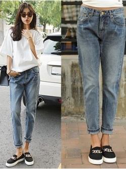 กางเกงยีนส์ขายาวเกาหลี สีตามรูป ทรงฮาเร็ม แนวเซอร์