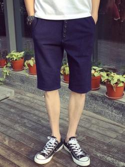 กางเกงยีนส์ขาสั้นเกาหลี สีน้ำเงินเข้ม ดีไซน์กระดุม แนวลำลอง