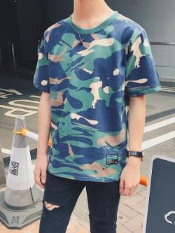 เสื้อยืดแขนสั้นเกาหลี ลายพรางสีน้ำเงิน ดีไซน์เท่