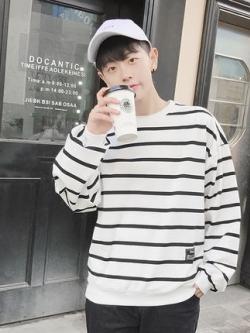 เสื้อแฟชั่นแขนยาวเกาหลี ลายขวาง ทรงหลวม มี2สี