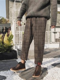 กางเกงขายาวสไตล์ฮ่องกง แต่งลายตารางสก็อต แนววินเทจ มี2สี