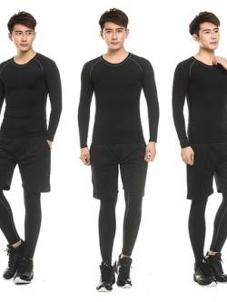เสื้อกีฬาครบเซท แนวฟิตเนส เสื้อแขนยาว+กางเกงขาสั้น+กางเกงด้านในขายาว มี5สี