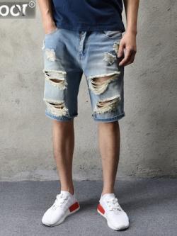 กางเกงยีนส์ขาสั้นเกาหลี สีฟ้า แต่งรอยขาดทั้งตัว แนวเซอร์ๆ