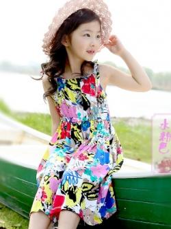 ชุดเด็กแฟชั่นเกาหลี เดรสยาวสายเดี่ยว โบฮีเมียน แนวชายหาด มี4สี
