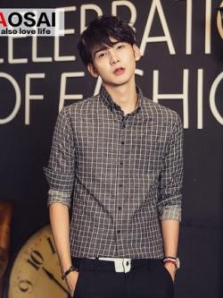 เสื้อเชิ้ตแขนยาวเกาหลี สีเทาเข้ม พิมพ์ลายสก็อต