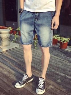 กางเกงยีนส์ขาสั้นเกาหลี สีฟ้า ดีไซน์กระดุม เรียบสวย