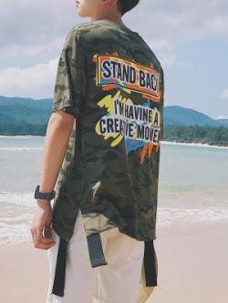 เสื้อยืดแขนสั้นเกาหลี สีเขียวลายพรางทหาร แต่งปลายเสื้อ