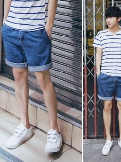 กางเกงยีนส์ขาสั้นเกาหลี สีน้ำเงิน แต่งกระเป๋าด้านหลัง