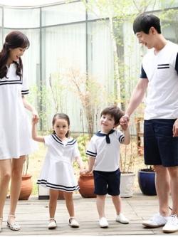 ชุดครอบครัวเซท4ชุด เสื้อแขนสั้น+เดรสสั้นน่ารัก