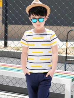เสื้อเซทเด็กเข้าชุดเกาหลี แต่งลายเส้น เสื้อ+กางเกง มี3สี