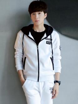 ชุดวอร์มเกาหลี เสื้อฮู้ดแขนยาว+กางเกงขายาว มี3สี