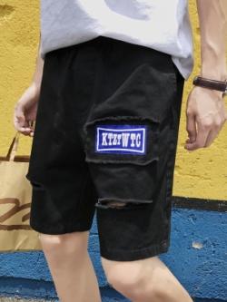 กางเกงขาสั้นเกาหลี แต่งรอยขาดด้านหน้า มี3สี