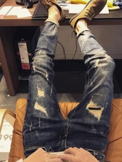 กางเกงยีนส์ขายาวเกาหลี แต่งขาดแบบเซอร์ ดีไซน์เท่