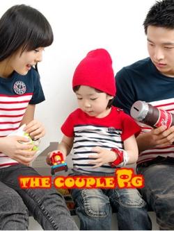 ชุดครอบครัวเซต3ชิ้น เป็นเสื้อยืดลายขวางแขนสั้น <มี2สี>