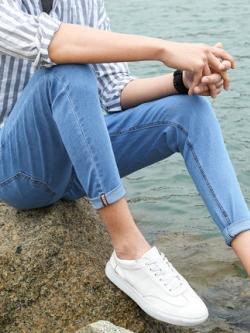 กางเกงยีนส์ขายาวเกาหลี ทรงเข้ารูป ดีไซน์ขาเต่อ มี2สี