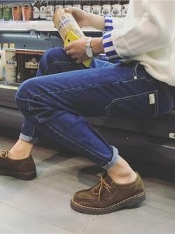 กางเกงยีนส์ขายาวเกาหลี เข้ารูปทรงสลิม แต่งกระเป๋า มี3สี