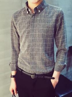 เสื้อเชิ้ตแขนยาวเกาหลี พิมพ์ลายตารางทั้งตัว ซ่อนกระดุม มี2สี