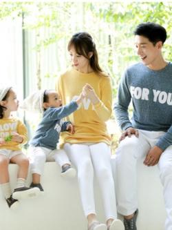 ชุดครอบครัวเซท4ชุด เสื้อแขนยาวแฟชั่นเกาหลี พิมพ์ลาย