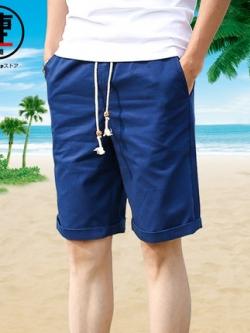 กางเกงขาสั้นเกาหลี แนวชายหาด ขอบเอวยืดเชือกผูก มี6สี