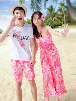 ชุดคู่รักเกาหลี สีชมพู แนวชายหาด Summer เสื้อยืด+กางเกง+เดรสยาวโบฮีเมียน