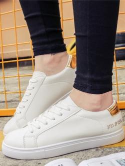 รองเท้าผ้าใบเกาหลี สีขาว แต่งแถบสีด้านหลัง มี3สี