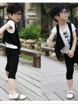 ชุดเซทลำลองเด็กเกาหลี เสื้อยืด+เสื้อกั๊ก+กางเกง