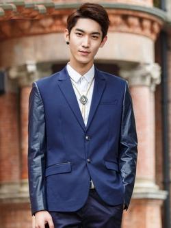 เสื้อสูทแขนยาวเกาหลี สีน้ำเงิน แต่งแขนเสื้อหนัง
