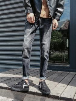 กางเกงยีนส์ขายาวสีดำเกาหลี เข้ารูป แนวเซอร์