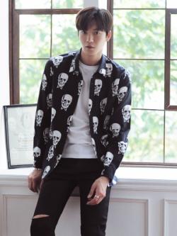 เสื้อเชิ้ตคลุมแขนยาวเกาหลี สีดำ พิมพ์ลายหัวกะโหลกทั้งตัว