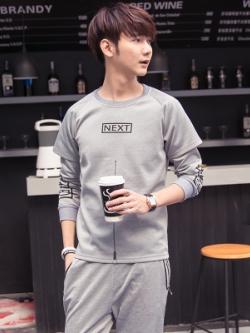 ชุดวอร์มกีฬาเกาหลี แต่งซิบครึ่งตัว ดีไซน์เสื้อ2ชั้น เสื้อ+กางเกง มี3สี