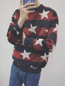 เสื้อแขนยาวแฟชั่นแนวสเวตเตอร์ ลายขวาง แต่งรูปดาว มี2สี