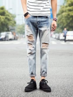 กางเกงยีนส์ขายาวเกาหลี สีฟ้า แต่งรอยขาดเซอร์ๆ