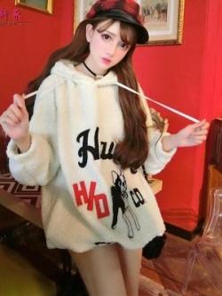 เสื้อกันหนาวขนสัตว์ญี่ปุ่น ทรงหลวม พิมพ์ลายด้านหน้า มีฮู้ด