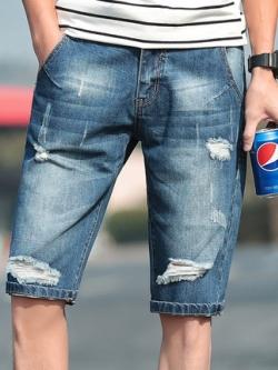 กางเกงยีนส์ขาสั้นเกาหลี แนวขาดเซอร์ ดีไซน์เท่