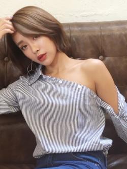 เสื้อเชิ้ตแขนยาวเกาหลี ดีไซน์กระดุมเฉียงเปิดไหล่ เก๋มาก