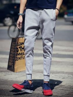 กางเกงขายาวเกาหลี แต่งลายเส้น จั้มปลายขา เรียบสวย มี2สี