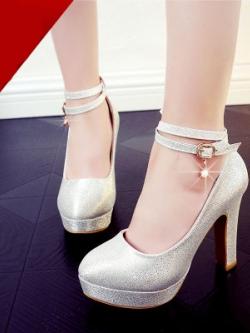 รองเท้าส้นสูงเกาหลี สีSilver แต่งสายรัดคาด ดีไซน์หรู มี3แบบ