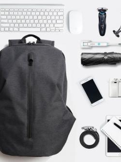 กระเป๋าสะพายหลังเกาหลี สีเทา แนวTravel แต่งซิบเท่